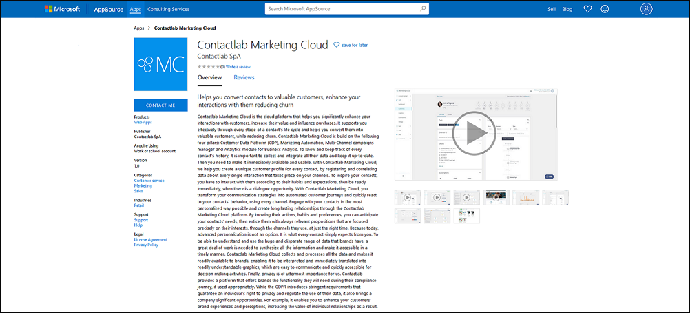 The Contactlab Marketing Cloud in the Microsoft AppSource